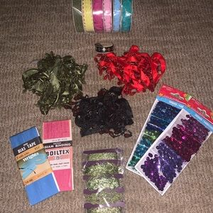 Huge lot sewing supplys ribbons and sequins